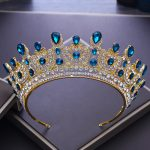 2018 New Baroque Vintage Blue Crystal Gold Crown for Bride Big Tiaras Wedding Hair Ornament Queen Crowns Party Hair <b>Jewelry</b> M623