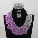 <b>Silver</b> Crystal Add Lilac Flowers Brooch African Crystal Beads Engagement Jewellery Set Wedding Jewelry Set Free ShippingABH119
