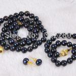 8-9mm Black pearl necklace bracelet earring set women fashion <b>jewelry</b> <b>making</b>