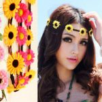 Artificial Sunflower Floral Headbands Boho Wedding Bridal Hair <b>Jewellery</b> Flowers Braided Leather Elastic Headpiece For Women
