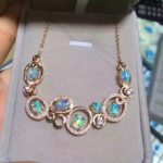 Natural opal Necklace natural gemstone Pendant Necklace S925 <b>silver</b> Fashion Elegant interlace round girls women party <b>Jewelry</b>
