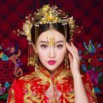 Classical Chinese Oriental Wedding Hair Accessories <b>Jewelry</b> Gold Color Tassel Hair Sticks Phoenix Headband Princess Headdress