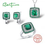 <b>Silver</b> <b>Jewelry</b> Sets for Women Natural Green Stones White Cubic Zircon Ring Earrings Pendant Set 925 <b>Sterling</b> <b>Silver</b> <b>Jewelry</b>