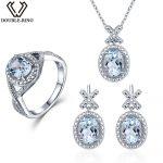 Double-R 0.03 ct Natural Diamond Bridal Wedding Jewelry Sets Women 4.1 ct Real Blue Topaz 925 <b>Silver</b> <b>earring</b> Ring Pendant Female