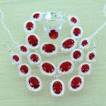925-Sterling-Silver Red Garnet <b>Jewelry</b> Sets Silver Bracelets/Drop Earrings/Ring/<b>Necklace</b>/Pendant For Women Jewery Box