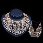 2017 New Fashion <b>Silver</b>&Gold <b>Necklace</b> Earrings Jewelry Sets Full Rhinestone Bridal Wedding Party Jewelry Sets LF-G024