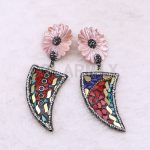 Wholesale Mix color Big shell earrings pave rhinestone Long horn <b>jewelry</b> earrings <b>handmade</b> <b>jewelry</b> earrings Gift for lady 3654