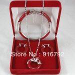 Prett Lovely Women's Wedding Wholesale charming genuine red gem silver dragon pendant earrings bracelet set silver-<b>jewelry</b>
