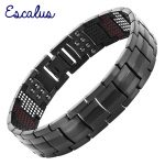 Escalus 2018 Men's Black Pure Titanium Magnetic Bracelet For Men 4in1 Magnets Negative Ions Germanium Health Bracelets <b>jewelry</b>