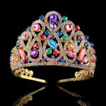 High Quality Multicolor Crystal Bridal Taras and Crowns Gold Color Wedding Hair Crown for Women 2018 Hair <b>Jewelry</b> Accessories