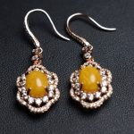 On Sale Fine Jewelry real high quality 925 sterling <b>Silver</b> 100% Natural amber beeswax Gemstone <b>Earrings</b> For Women Fine <b>earrings</b>