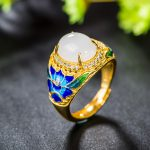 Retro Silver <b>Jewelry</b> S925 Sterling Silver Cloisonne Wild Peony Flower Open Ended Ring Craft Factory Direct <b>Supply</b>