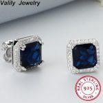 Valily Women Stud Earrings 3ct Blue Stone Princess Cut 925 sterling silver earrings bijoux <b>wedding</b> earrings <b>Jewelry</b> for Female