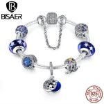 100% 925 <b>Sterling</b> <b>Silver</b> Blue European Glass Beads, Moon & Stars Pendants Bracelet Authentic Original <b>Jewelry</b> EDB009-18
