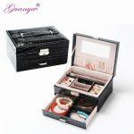 Guanya Best Selling Fashion Leather Square <b>Jewelry</b> Box Simple layout 2 Layers Makeup Organizer choker Ring <b>necklace</b> Storage Box
