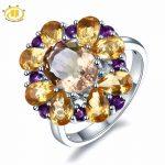 Hutang Engagement Ring 5.7ct Natural Pink Ametrine Citrine Solid 925 <b>Sterling</b> <b>Silver</b> Gemstone Fine Fashion <b>Jewelry</b> Best Gift New