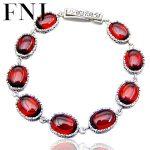 FNJ <b>Bracelet</b> 925 <b>Silver</b> Natural Yellow Chalcedony Stone 19.1cm Chain S925 <b>Silver</b> <b>Bracelets</b> for Women Red Zircon