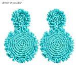 Dream-it-possible hot green 2018 designer New <b>handmade</b> bead flower earrin personality sky blue big charm drop earrings <b>jewelry</b>