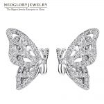 Neoglory White Butterfly Zircon Charm Cute Stud Earring Girls Bridesmaid Gifts <b>Fashion</b> Christmas <b>Jewelry</b> 2018 New But-e