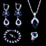 Russian Style Flower & Water drop Blue Stone White Zirconia Four Piece <b>Bracelets</b> 925 Stamp <b>Silver</b> Color Jewelry Sets For Women