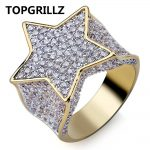 TOPGRILLZ Hip Hop New Custom Gold Color Plated Star Ring All Iced Out CZ Stone Rings Charm For Women Men Bling Party <b>Jewelry</b>