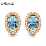 AINUOSHI 3 Carat Natural Topaz Earring Oval Cut Yellow Gold Color Oval Stud Earring Engagement Anniversary <b>Jewelry</b> For Female