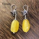 Yoowei Baltic Natural Amber Earrings for Women S925 <b>Silver</b> Flower Real Honey Beads Dangle Earrings Gifts Amber <b>Jewelry</b> Wholesale