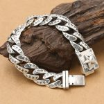 76.6g Heavy Solid <b>Silver</b> 925 Thick Link Chain Bracelet Men Simple Star Gothic Punk Real 925 <b>Sterling</b> <b>Silver</b> Men <b>Jewelry</b> Gifts