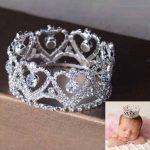 Rhinestones Full Circle Mini Newborn Baby Tiara Crown Photography Props Crystal Round Baby Crown Hair <b>Jewelry</b> Accessories