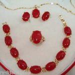 Prett Lovely Women's Wedding Fashion Red gem Bracelet earring Pendant Necklace Set For Women silver-<b>jewelry</b> moda