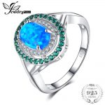 JewelryPalace Luxury 1.2 ct Oval Created Black Opal Emerald Cocktail Ring Genuine 925 Sterling <b>Silver</b> Vintage <b>Jewelry</b> For Women