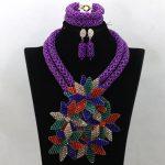 Wonderful Flower Purple Statement Necklace Set Bella Naija Weddings African Beads Jewelry Set 2017 Free Shipping WA641