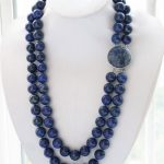 2row 24″ 14mm blue round lapis lazuli bead <b>necklace</b>