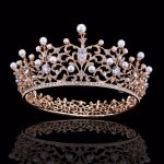 Luxury Pearl Crystal Gold Crown Bridal <b>Wedding</b> <b>Jewelry</b> Rhinestone Zircon Tiaras Crowns Pageant Dress Hair Accessories