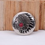 10PC 30MM <b>NATIVE</b> <b>AMERICAN</b> INDIAN HEAD RED TURQUOISE SLIVER LEATHERCRAFT CONCHOS SET