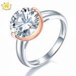 Hutang Round 10 mm Similar Diamond Solid 925 Sterling <b>Silver</b> Wedding Ring Women's Gift Fine <b>Jewelry</b> Christmas presents for 2018