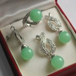 Prett Lovely Women's Wedding Hot! high qulity new <b>jewelry</b> silver 12mm light green stone gem bread pendant earring ring sets