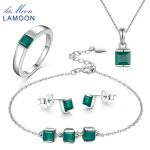LAMOON 4mm 0.6ct Green Chalcedony Natural Sets For Women 925 Sterling <b>Silver</b> Fine Jewelry Ring <b>Earrings</b> Bracelet Necklace V008-1