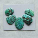 Natural Gemstone 5Pcs Of Green Turquoise <b>fashion</b> Cabochons SET,24x18x4mm,20x12x3mm,8.7g