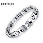 Meaeguet Magnet Tai Chi Hematite Bracelets & Bangles Stainless Steel Bio Magnetic Healthy Bracelets For Women <b>Jewelry</b>