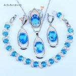 L&B Oval 925 Sterling <b>Silver</b> Jewelry Sets Sky Blue Cubic Zirconia <b>Bracelets</b>/Pendant/Necklace/Rings/Earrings For Women