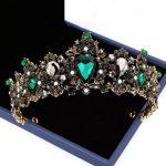 Luxury Vintage Black Green Crytal Crowns Tiaras Baroque Bridal Head Accessories <b>Wedding</b> <b>Jewelry</b> Party Crown Tiara Headpiece CR91