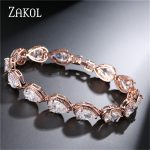 ZAKOL Fashion Women <b>Accessories</b> Luxury Cubic Zirconia Water Drop CZ Stone Bracelet Bangle Bridal Wedding <b>Jewelry</b> Gift FSBP055