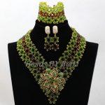 <b>Handmade</b> Hot African Costume <b>Jewelry</b> Sets Green Brown Crystal Women Nigerian Party Beads Lace <b>Jewelry</b> Sets Free Shipping ABK983