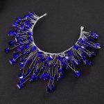 Gold/Blue Crystal Luxury <b>handmade</b> bridal headbands wedding hair accessories crystal hair <b>jewelry</b> bridal crowns prom hair <b>jewelry</b>