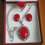 Women's Wedding Wholesale 13*18mm red jadel ring, earrings &pendant fashion <b>jewelry</b> set silver mujer moda