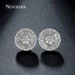 NEWBARK Round Stud Earrings For Women Luxury Top Clear Zirconia Paved Silver Color Brincos Wedding Earring <b>Jewelry</b>