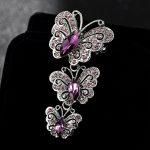 Big Brand Fashion Korean <b>Jewelry</b> <b>Antique</b> Silver Vintage Butterfly Brooches Shiny Noble Austrian Crystal Broches Femininos Bijoux