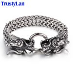 TrustyLan Vintage Stainless Steel Men Bracelet Cool Double Dragon Head Male <b>Jewelry</b> <b>Accessory</b> Cool Mens Bangle Wristband 225MM