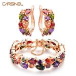 CARSINEL Trendy Shining Colorful <b>Jewelry</b> Sets CZ Zirconia Bracelet&Earrings Rose Gold-color <b>Jewelry</b> Sets for Bridal Wedding